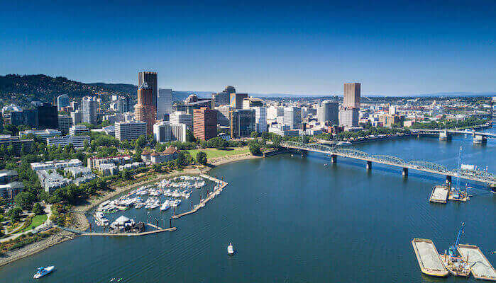 Aerial View of Portland Waterfront
